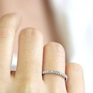 New Sterling Silver CZ Eternity Band Stacking Ring